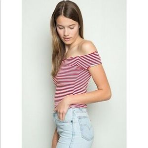 Brandy Melville striped off the shoulder crop top